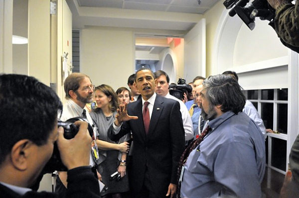 President Obama takes an impromtu tour of the press area just after taking office in 2009 (Getty Images)