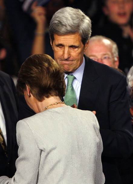 U.S. Senator John Kerry (D-MA) (top) greets Democratic candidate for the U.S. Senate Martha Coakley after she conceded defeat to Republican Senator-elect Scott Brown in the special election to fill the Senate seat of the late Edward Kennedy in Boston, Massachusetts January 19, 2010. (REUTERS)