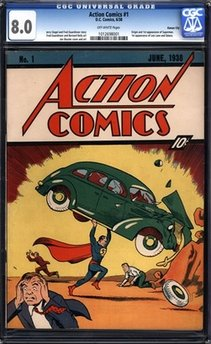 In this image released by Comic Connect Corp., a the June 1938 cover of 'Action Comics' that first featured Superman, is shown. (AP Photo/Comic Connect Corp.)