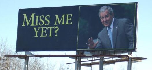 "President George W. Bush ""Miss Me Yet?"" billboard seen on I-35 in Wyoming by MPR's Bob Collins"