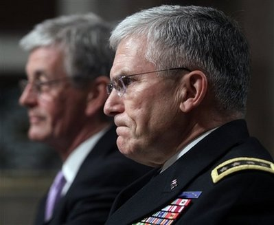 Army Chief of Staff Gen. George Casey, right, and Army Secretary John McHugh, testify on Capitol Hill in Washington, Tuesday, Feb. 23, 2010, before the the Senate Armed Services Committee. (AP Photo/Lauren Victoria Burke)