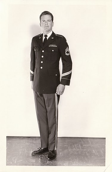 Here's dad in his Army Dress Blues, in what otherwise looks like an official promotion photo.  Adding to that impression is that he's sans moustache, which was extremely rare in those days.  Interestingly, he's wearing SFC stripes but sporting only two service stripes on his lower sleeve, meaning he had not yet reached his 9th year of service -- which he'd have done by July 1971. He must just have been promoted.