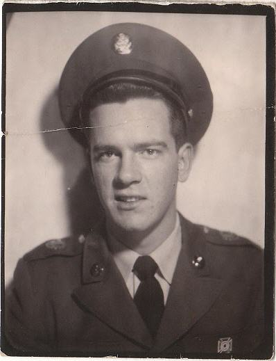 Dad in uniform with his service cap cocked rakishly. I presume from the age and lack of insignia that this is shortly after Basic Training in 1962.