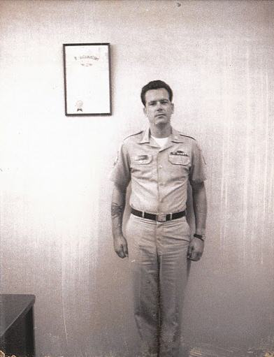 Here's Dad in his Army khakis.  He's a staff sergeant here on recruiting duty in Houston, Texas.  We moved there in 1968 and I think he made SFC in 1971, so this is in between those dates.