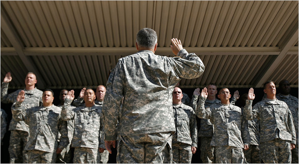 At a Pentagon ceremony in 2008, combat fatigues were worn by all, including Gen. George W. Casey Jr., the Army chief of staff. (Chip Somodevilla/Getty Images)