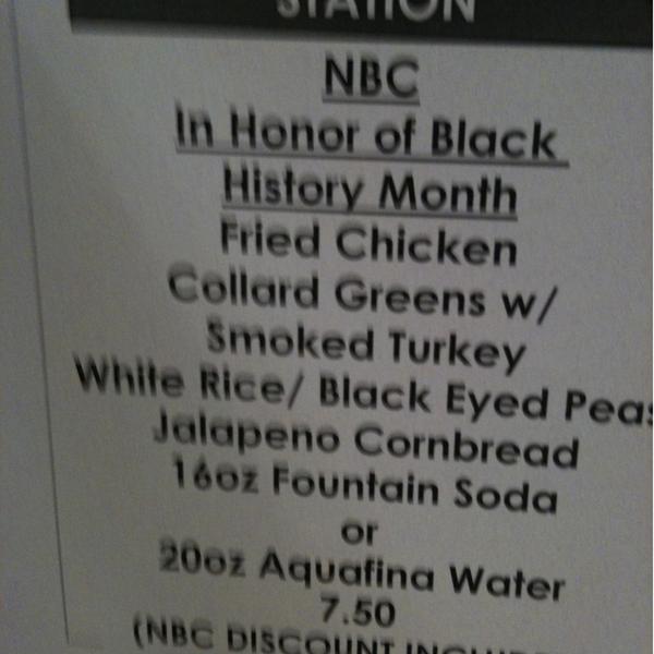 NBC Black History Month Menu