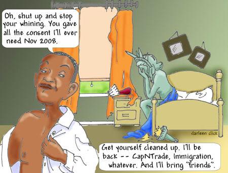 Obama Rapes Liberty Cartoon Darleen Click