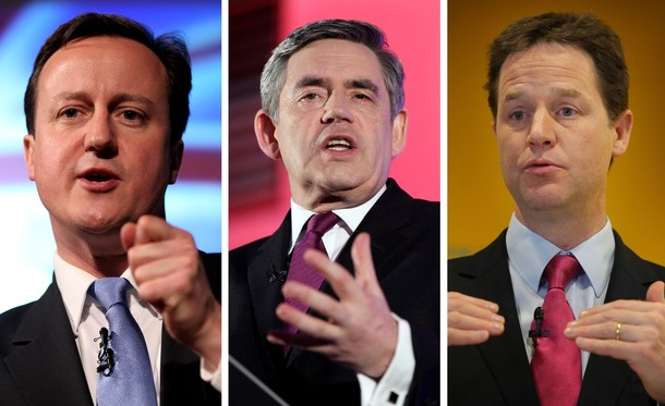 UK Election 2010:  Cameron, Brown, and Clegg
