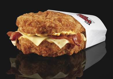 KFC Double Down Sandwich KFC's Double Down is essentially a sandwich with two chicken filets taking the place of bread slices. In between are two pieces of bacon, melted slices of Monterey jack and pepper jack cheese and a zesty sauce.