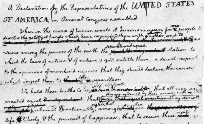 the declaration of independence 50 essays Jefferson's draft of the declaration of independence, 28 june, 1776 as it probably read when jefferson submitted it for corrections in the original text there are some changes: these are indicated by [.