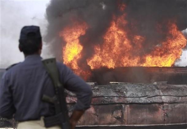 Pakistan NATO Truck Ablaze
