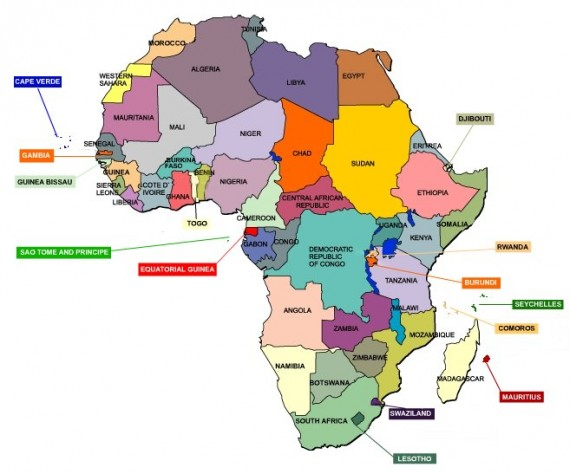 africa map just countries