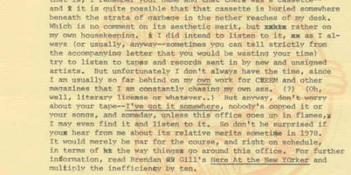 Lester Bangs Letter - Sorry About the Tape