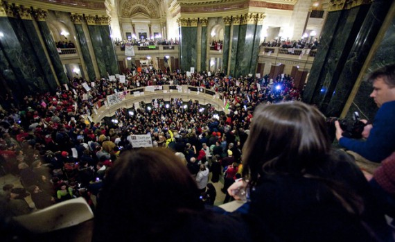 Demonstrators converge once again on the Capitol after the state Senate abruptly voted Wednesday night to eliminate collective bargaining provisions. The Assembly is expected to vote on the issue Thursday.