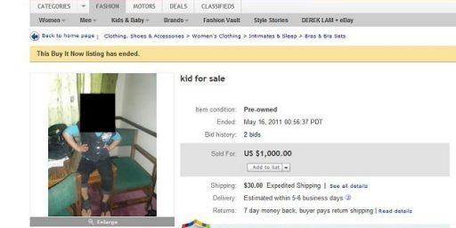 Michigan Woman Puts Child For Sale On eBay
