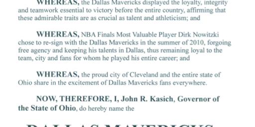Kasich Proclaims Dallas Mavericks Honorary Ohioans