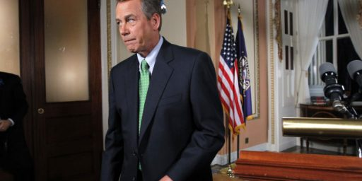 "Boehner: Not Enough Votes For ""Clean"" CR, Or ""Clean"" Debt Ceiling Increase"