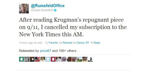Krugman Blog Post Causes Donald Rumsfeld To Cancel <em>Times</em> Subscription