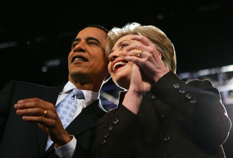 Barack Obama Hillary Clinton Smiling