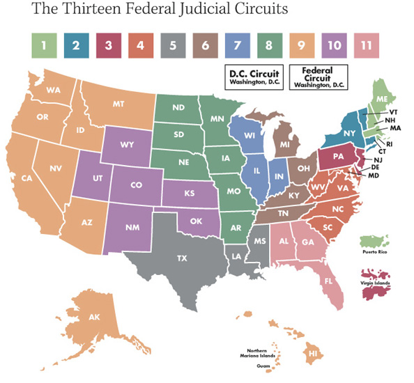 Courtsofappealcircuitmap OTB Online Journal Of Politics - Us federal courts map