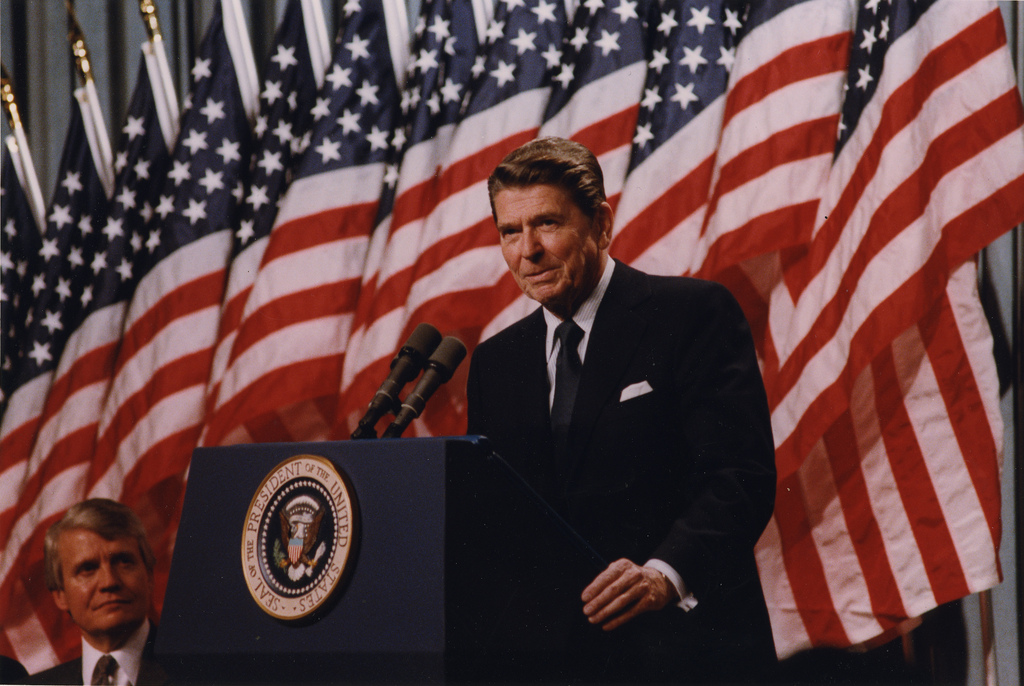 Reagan and Flags