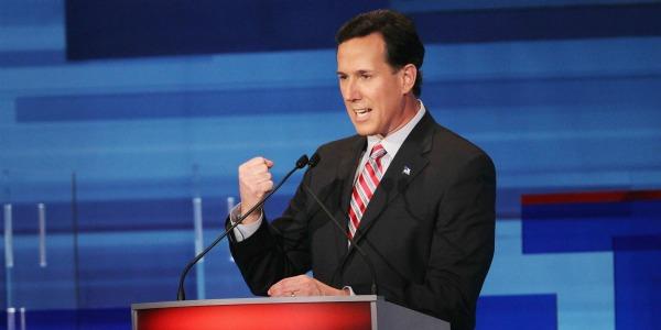 Santorum at Podium