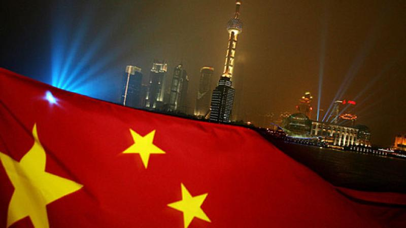 China Flag and Skyline