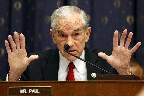Rep. Ron Paul questions Federal Reserve Board chairman Ben Bernanke at the House Financial Services Committee hearing in Washington