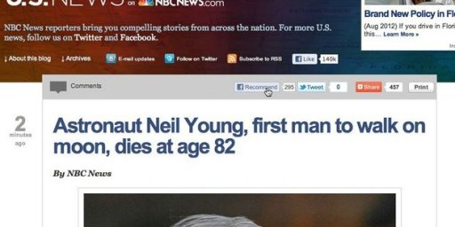 """NBC News Reports Death Of """"Astronaut Neil Young"""""""