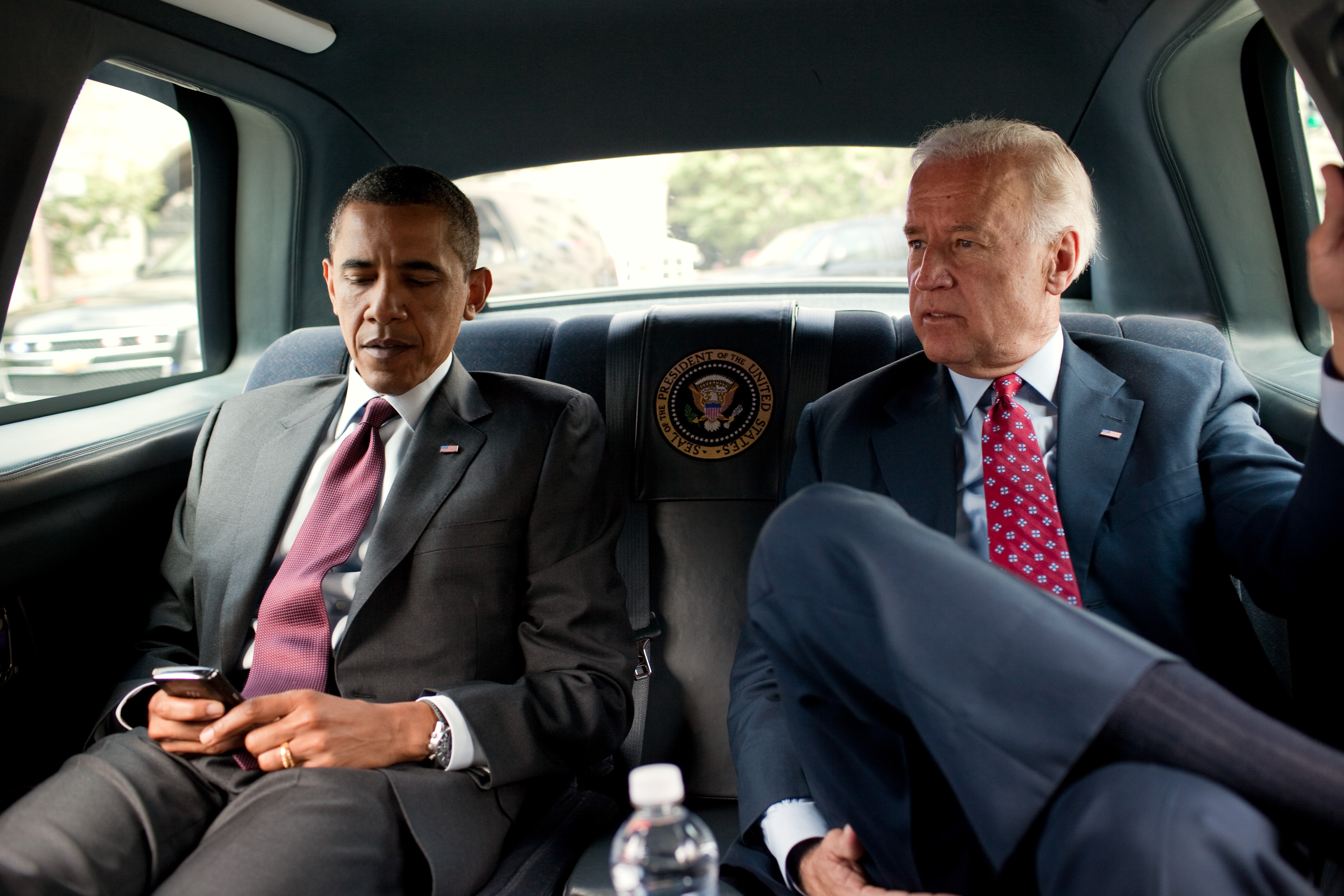 Obama and Biden in Limo