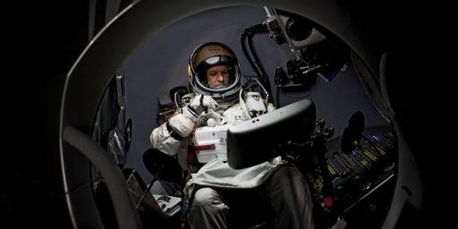 Felix Baumgartner Attempting Skydive From 23 Miles Above Earth