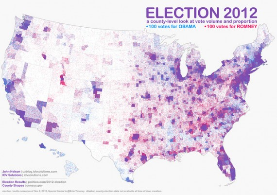 CountyByCounty Map Weighted By Population - Us county map 2012 election