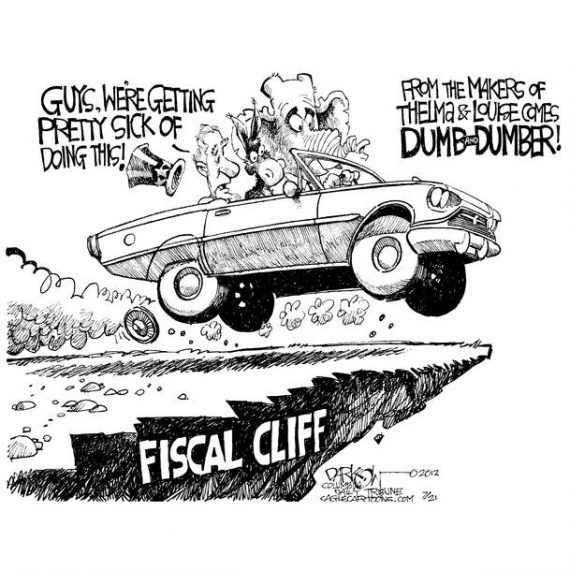 Fiscal Cliff Cartoon: Thelma & Louise Dumber and Dumber Cagle