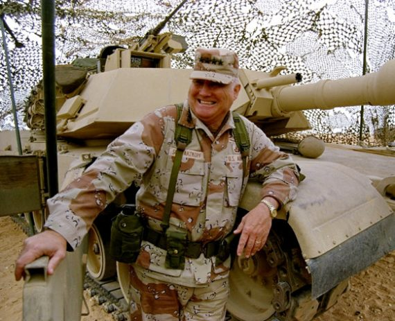 Associated Press/Bob Daugherty, File - FILE - In this Jan. 12, 1991 file photo, Gen. H. Norman Schwarzkopf stands at ease with his tank troops during Operation Desert Storm in Saudi Arabia. Schwarzkopf died Thursday, Dec. 27, 2012 in Tampa, Fla. He was 78. (AP Photo/Bob Daugherty, File)  l