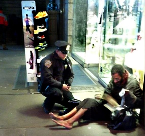 Cop Goes Viral Photo Of New York City: Bootless Homeless Guy Bootless Again