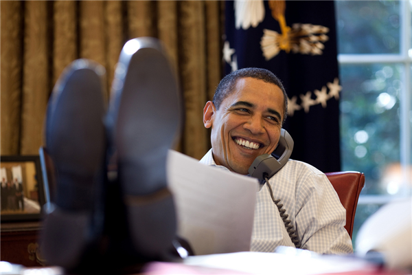 Obama Oval Office Feet On Desk