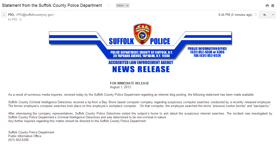 Suffolk PIO Statement