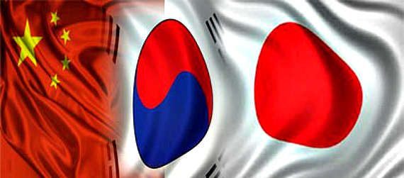 China Japan South Korea Flags