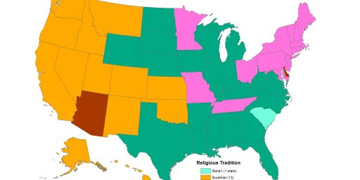 The Second-Largest Religion By State