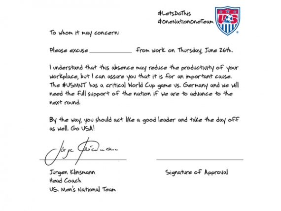 World Cup Klinsmann Excuse Letter