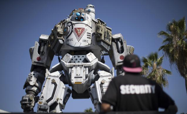 "A prop depicting a character from the video game ""Titanfall"" is on display before the opening day of the Electronic Entertainment Expo, or E3, in Los Angeles"
