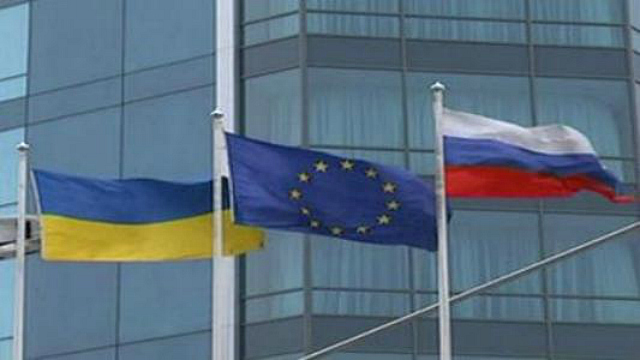 Ukraine Russia European Union Flags