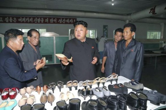 North Korean leader Kim Jong Un provides field guidance during his visit to the Wonsan Shoe Factory