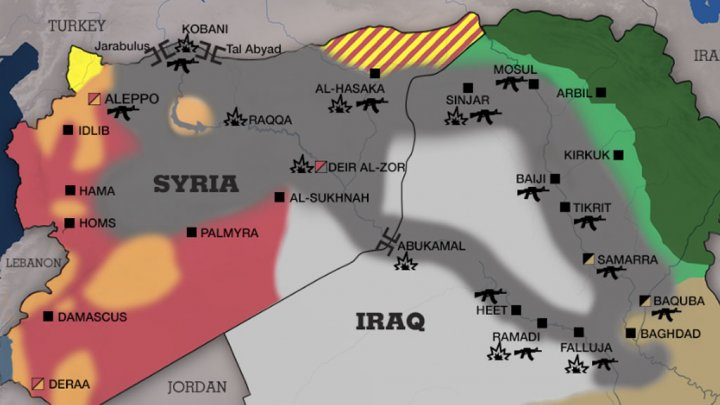 FRANCE 24 | Screen grab of map showing areas controlled by the Islamic State group in Syria and Iraq 14 October 2014