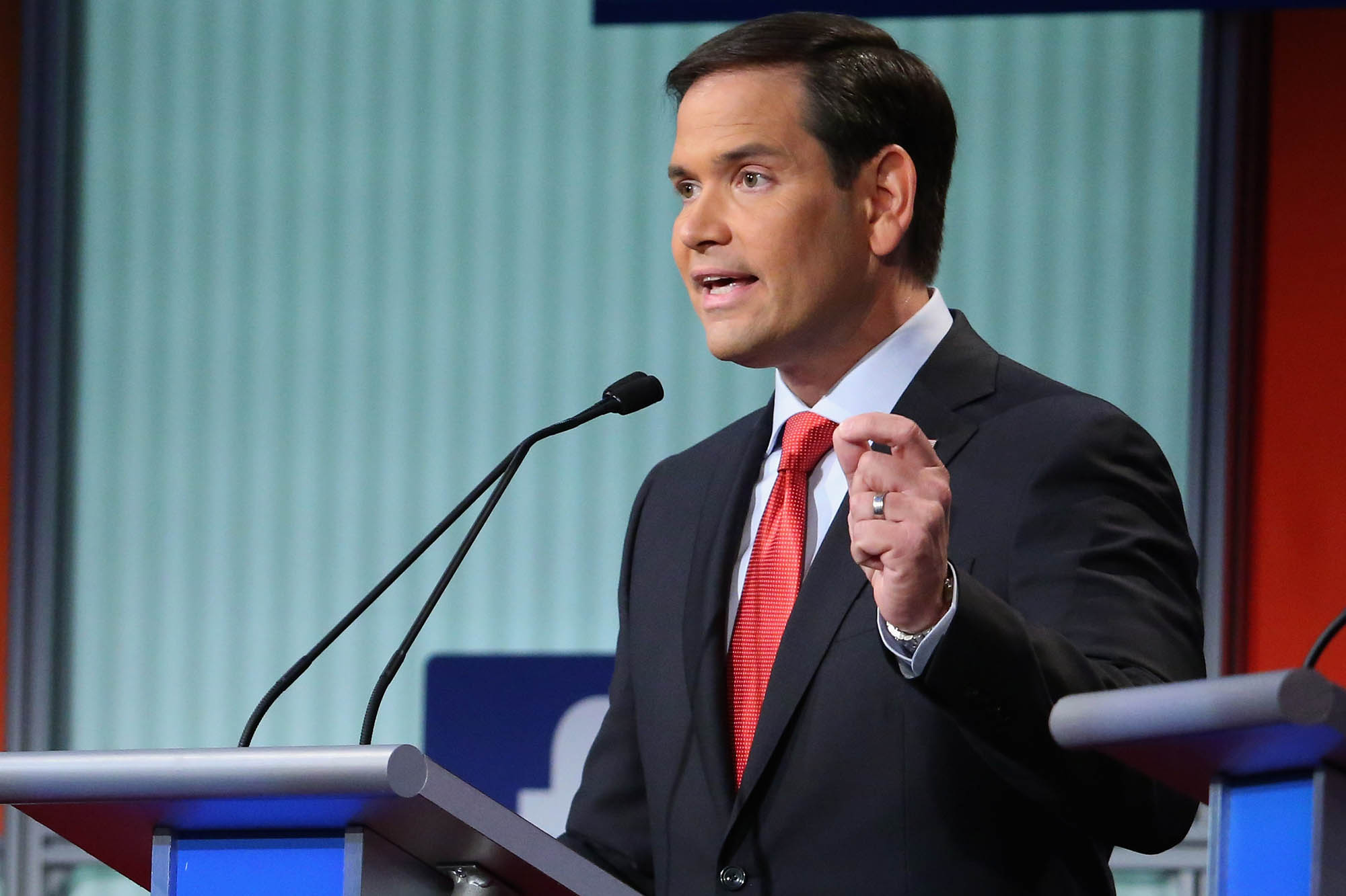 CLEVELAND, OH - AUGUST 06:  Republican presidential candidate Sen. Marco Rubio (R-FL) participates in the first prime-time presidential debate hosted by FOX News and Facebook at the Quicken Loans Arena August 6, 2015 in Cleveland, Ohio. The top-ten GOP candidates were selected to participate in the debate based on their rank in an average of the five most rece