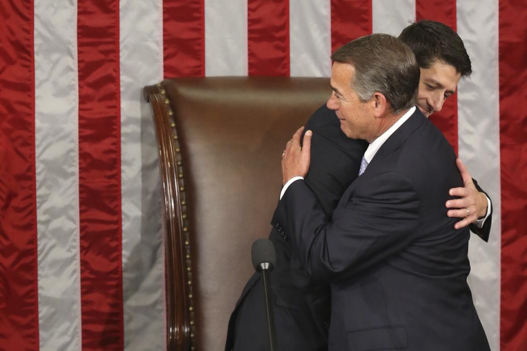 Outgoing House Speaker John Boehner hugs his successor Rep. Paul Ryan, R-Wis. in the House Chamber on Capitol Hill in Washington, Thursday, Oct. 29, 2015. Republicans rallied behind Ryan to elect him the House's 54th speaker on Thursday as a splintered GOP turned to the youthful but battle-tested lawmaker to mend its self-inflicted wounds and craft a conservative message to woo voters in next year's elections. (AP Photo/Andrew Harnik)