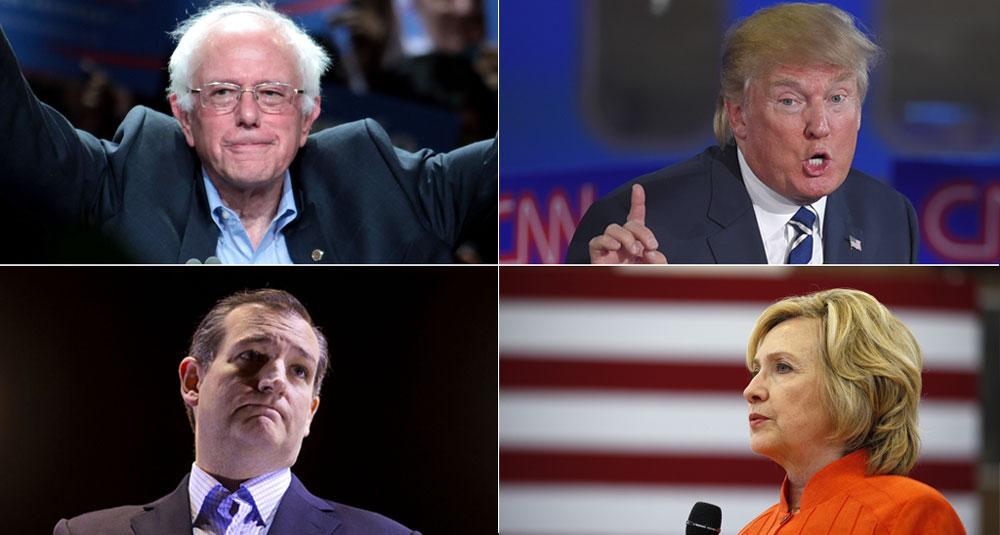 Bernie Sanders Donald Trump Ted Cruz Hillary Clinton