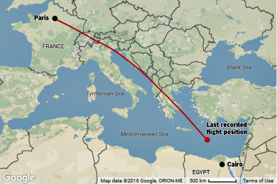 EgyptAir Flight 804 Map