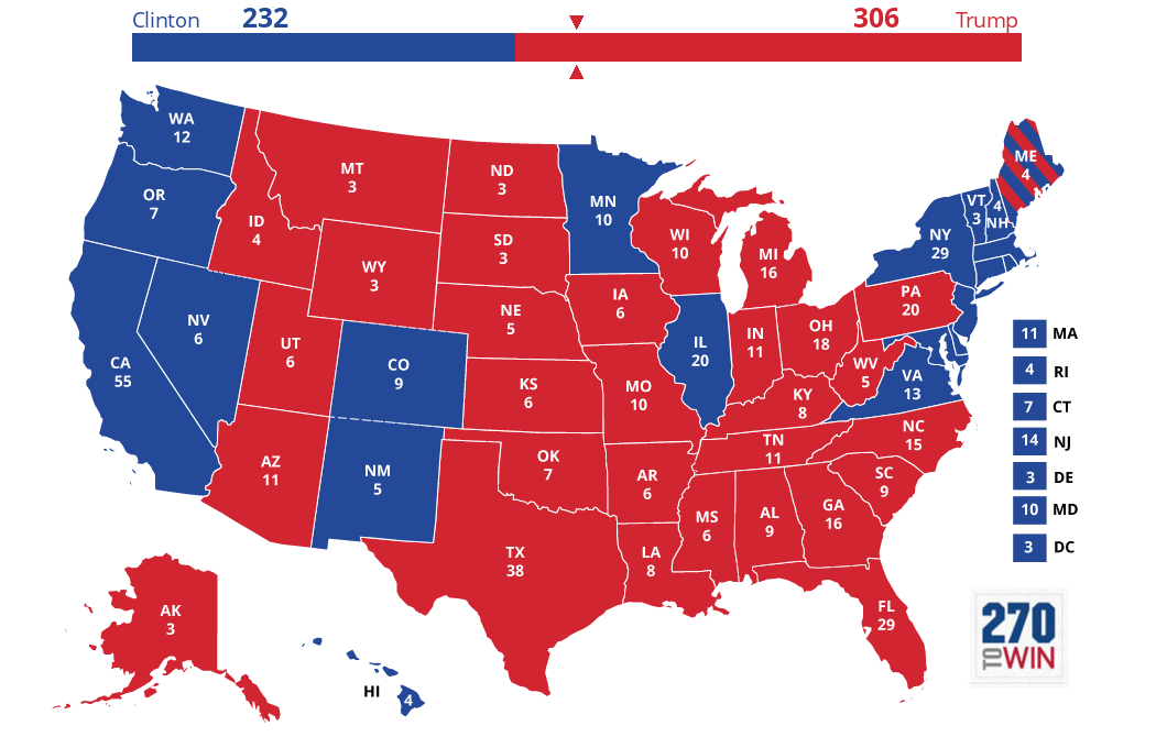 Campaign Page - Final electoral college map 2016 us